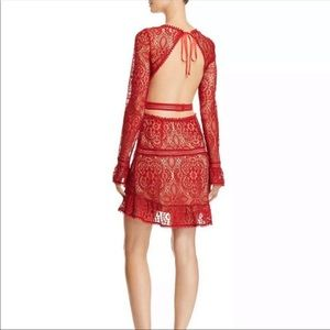 For Love and Lemons Emerie Red Lace Backless Dress